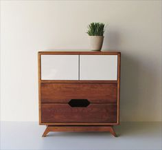 Mid-Century Style Bedside Table Made From Reclaimed Wood With Hidden Compartment and Push-To-Open Doors ($725.00) - Svpply