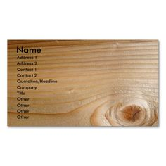 Business on Unfinished Wood Business Card