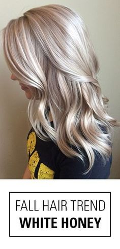 This is it! The perfect fall hair color idea for blondes! Not quite platinum, not quite golden. White Honey Blonde is a beauty with it's bright, beige blonde hues! Source
