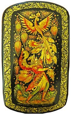 """Firebird"" by Voronin, of Palekh, Russian Lacquer Boxes & Russian Folk Art Siren Creature, Illustrations, Illustration Art, Popular Paintings, Russian Folk Art, Firebird, Mythical Creatures, Traditional Art, Sculpture"