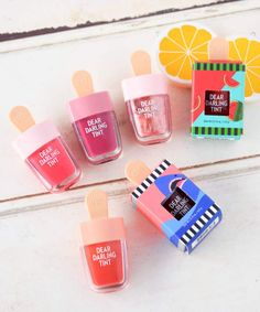 """FAVOR Popsicle design is too cute! Without Etude House """"Dear Darling Water Gel Tint"""" … – Life and personal care Etude House, Makeup Goals, Beauty Makeup, Chapstick Lip Balm, Gloss Labial, Makeup Package, Cosmetic Design, Asian Makeup, Cosmetic Packaging"""
