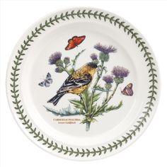 Portmeirion Botanic Garden Birds Set of 6 Lesser Goldfinch Dinner Plates