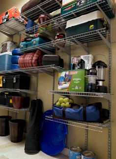 Organize your camping gear with the help of heavy duty wire shelving in the garage. Garage Storage Solutions, Diy Garage Storage, Camping Storage, Garage Shelving, Camping Organization, Garage Shelf, Wire Shelving, Tent Camping, Camping Gear