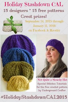 How to #crochet the special stitches for Not Quite a Slouchy Hat, a free pattern by @ucrafter. Learn FPdc & hdc2tog with video/photo tutorials. Links to the free pattern. #HolidayStashdownCAL2015
