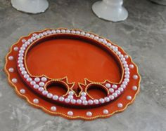 Round Acrylic Tray with Pearls  DRPP-6567 by ChicShagun on Etsy