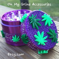 "GRINDER -- Purple Covered in ""Naughty Leaves"" Stoner Room, Stoner Girl, Marijuana Decor, Diy Resin Tray, Weed Bong, Cool Bongs, Weed Pictures, Alcohol Is A Drug, Pipes And Bongs"