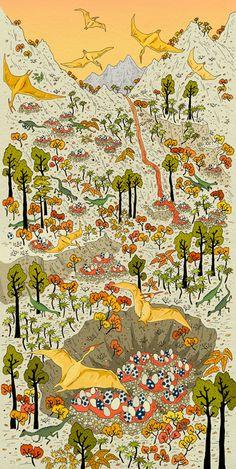 Illustration by Vikki Chu Dinosaur Posters, Dinosaur Art, Illustrations, Illustration Art, Dinosaur Illustration, Communication Art, Ghibli, Animal Drawings, Cute Wallpapers