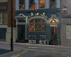 """Town Hall Tavern by Night, Manchester by Michael John Ashcroft Oil ~ 8"""" x 10"""""""