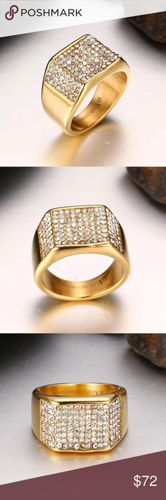 🛒Coming!! High Quality Stainless Steel Crystals New Arrival Men Stainless Steel Ring AAA CZ  jewelry High quality Gold color Never fade Queen Esther Etc Accessories Jewelry