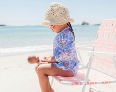 Coco Peach Gingham Swimsuit Louie Hat Natural