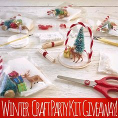 Giveaway # 3!!!! Winter Mini Craft Kit Party: Giveaways to brighten your day! What's more cozy than four friends together in a warm house on a cold winter's eve? Win four winter themed mini craft kits to get into the spirit! You will receive four fall mini craft kits filled with all kinds of wonderful things such as: Deer Snow Patches Tiny Presents Small Trees Candy Cane Poles Sticks Snowballs Red Pom Poms Snow Crystals Glitter Flakes Wood Bases Brushes & Paper Glue Trays. This box of fun…