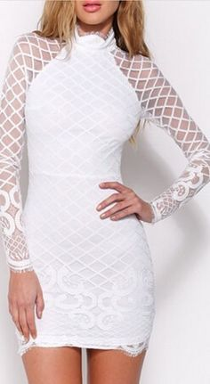 Sexy lace long-sleeved package hip dress