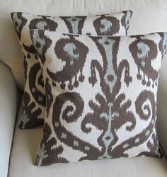 Ikat  Pair of Pillow Covers in Marrakesh Cobblestone fabric 20x20 inches WITH INSERTS