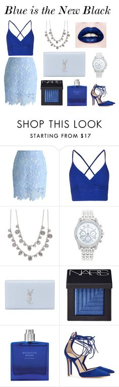 """""""Blue is the New Black"""" by yanrula ❤ liked on Polyvore featuring Topshop, Givenchy, Lane Bryant, Yves Saint Laurent, NARS Cosmetics and Gianvito Rossi"""