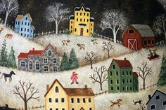 Hand Painted Folk Art Wooden Bowl with Winter Village, Saltbox Houses, Fox… Primitive Painting, Primitive Folk Art, Primitive Crafts, Tole Painting, Painting & Drawing, Primitive Plates, Arte Popular, Naive Art, Winter Scenes