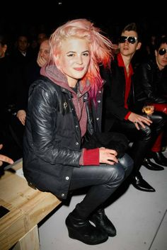 Alison Mosshart at Saint Laurent Front Row... and Alex Turner!