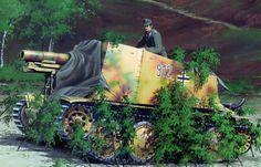 Sdkfz 138 Grille, sig33 y panzer 38t.
