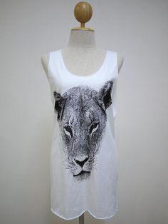 The Lion (Size M) : Leo Cute Animal t-shirt tank top Tunic Unisex Shirt Vest Women Sleeveless men Singlet White T-Shirt