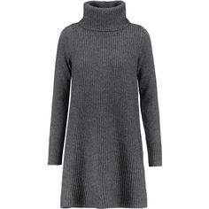 Madeleine Thompson - Lyle Ribbed Wool And Cashmere-blend Mini Sweater... found on Polyvore featuring dresses, charcoal, wool turtleneck, turtleneck dress, slip on dress, charcoal dress and wool dress