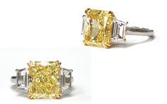 Custom 18k White Gold and Platinum 7.53 Carat Natural Fancy Yellow Diamond Ring with 1.15 Carats of White Diamonds on the sides. -Images Jewelers