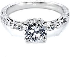 Tacori Engagement Ring w/ Marquise Side Diamonds  : This Tacori engagement ring setting # HT2198 features two marquise shaped diamond accents as well as detailed hand engraving around the band. THIS IS WHAT I WANT!