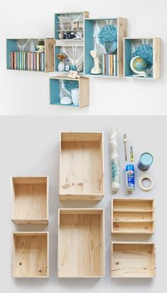 Good Ideas For You | Create a wall cupboard with old wine boxes.