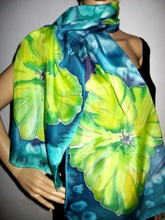 Hand Painted SILK SCARF tropical Flowers by SilkMagic on Etsy, $46.00