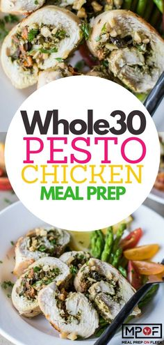 Pesto Chicken Meal Prep recipe - This chicken recipe and Keto chicken recipe (pesto chicken recipe) combines tons of Italian flavors in easy roll-ups. Serve over cauliflower rice or with sauteed veggies for an easy meal-prep lunch or dinner. Chicken Pesto Recipes, Chicken Meal Prep, Pesto Chicken, Veggie Recipes, Lunch Recipes, Healthy Dinner Recipes, Healthy Options, Healthy Meals, Paleo Recipes