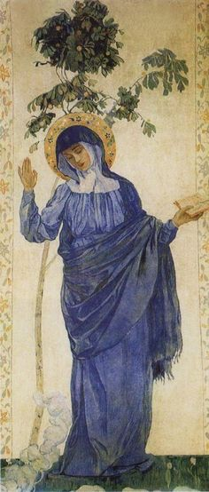 Annunciation. Virgin Mary. Painting by Russian artist Mikhail Nesterov