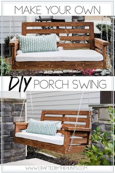 DIY Porch Swing - Porches and Patios Create a DIY Porch Swing with these step by step instructions. This porch swing would be the perfect addition to your front porch. Diy Garden Furniture, Furniture Projects, Furniture Makeover, Outdoor Furniture, Front Porch Furniture, Diy Projects, Geek Furniture, Patio Makeover, Pallet Furniture
