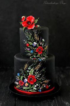 Ukrainian style cake by Golumbevskaya Olesya (Cake Design) Black Wedding Cakes, Beautiful Wedding Cakes, Gorgeous Cakes, Pretty Cakes, Amazing Cakes, Fondant Cakes, Cupcake Cakes, Cupcakes, Unique Cakes