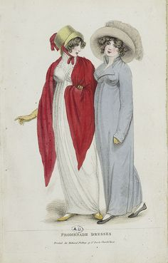 Two ladies walking. Lady's magazine 1804/5