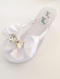 c609a2cfc3dd8 White Wedding Flip Flops.Wedding Shoes.Bridal Shoes.Rhinestone Bridal  Shoes.Beach Wedding.High Wedges