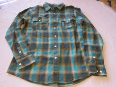 Men's HUF surf skate brand long sleeve shirt button up flannel M green plaid NWT #HUF #longsleeve