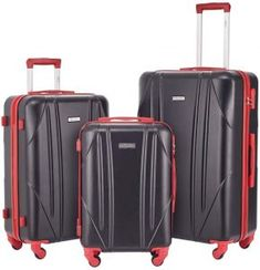 Enjoy exclusive for Newtour Luggage Sets 3 Pieces Suitcase Spinner Wheels Hardshell Lightweight luggage Travel (Black & Red) online - Tophitsclothing 3 Piece Luggage Set, Luggage Sets, Travel Tote, Travel Luggage, Lightweight Luggage, Crossover Bags, Suitcase Set, Computer Backpack, Small Case