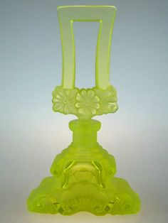 Bohemian Czech Art Deco Uranium Crystal Cut Signed Perfume Bottle