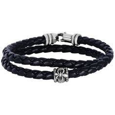 Phillip Gavriel - 8 4mm Leather Braided Wrap Around Bracelet w/ Fleur... (1.353.115 IDR) ❤ liked on Polyvore featuring jewelry, bracelets, black, leather bangle, braid jewelry, leather jewelry, fleur de lis jewelry and woven jewelry