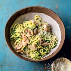 Baby marrow spaghetti with ham and mushrooms Banting Recipes, Low Carb Recipes, Cooking Recipes, Healthy Recipes, Healthy Meals, Healthy Options, Healthy Food, Vegetable Snacks, Vegetable Recipes