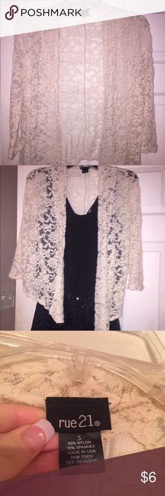 Lace cardigan/cover up. NOT the black romper. Arms are a little small. I've never actually worn this before. So fairly new. Rue 21 Tops