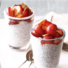 Strawberry Chia Seed Pudding: 1 c milk 1 c Greek yogurt 2 T + 4 tsp maple syrup 1 tsp vanilla salt 1/4 c chia seeds chopped strawberries 1/4 cup sliced almonds, toasted  In a medium bowl, gently whisk the almond milk, yogurt, 2 tablespoons maple syrup,  vanilla and 1/8 teaspoon salt until just blended. Whisk in the chia seeds; let stand 30 minutes. Cover and refrigerate overnight. The next day, in a medium bowl, toss the berries with the remaining 4 teaspoons maple syrup. Mix in the almonds.