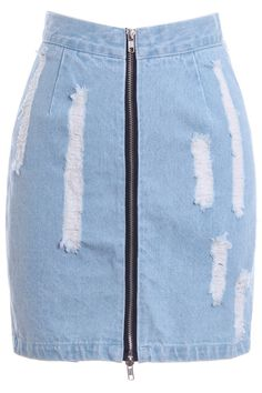 ROMWE | Distressed Zippered Denim Bodycon Skirt, The Latest Street Fashion. On my things to sew list.