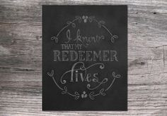 I Know that My Redeemer Lives Easter Chalkboard Art by JKayeStudio, $5.00