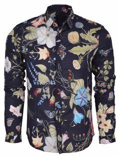 New Gucci Men's 352997 BLUE Flora Floral Knight Duke Fit Button Down Dress Shirt #Gucci