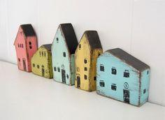 Lieu de maison en bois peint à la main argent par OldNewAgain