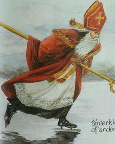 Sinterklaas op de schaats over t ijs....