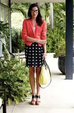 Work Style: Pink Blazer, Polka Dot Pencil Skirt, & Yellow Purse