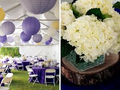 Add some color to a rather simple tent design with some colorful paper lanterns.