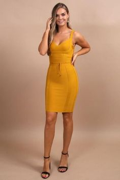 Donatella Mustard Tie Waist Bandage Dress Be a trendsetter in this fitted bandage dress! Build your trendy mustard yellow clothing wardrobe. Dresses To Wear To A Wedding, Dresses For Work, Summer Dresses, Chic Outfits, Fashion Outfits, Fashion Ideas, Mom Outfits, Fall Fashion, Fashion Tips