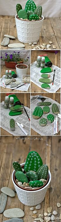 Try These Best DIY Projects For Your Home Decoration, DIY and Crafts, Painted Cactus Rocks. Rock painting has become very popular these days. Pick up rocks and paint them in the pattern of cactus, arrange them together w. Kids Crafts, Diy And Crafts, Arts And Crafts, Kids Diy, Decor Crafts, Easy Crafts, Easy Diy, Nature Crafts, Elderly Crafts