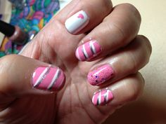 Pink striped heart nail art